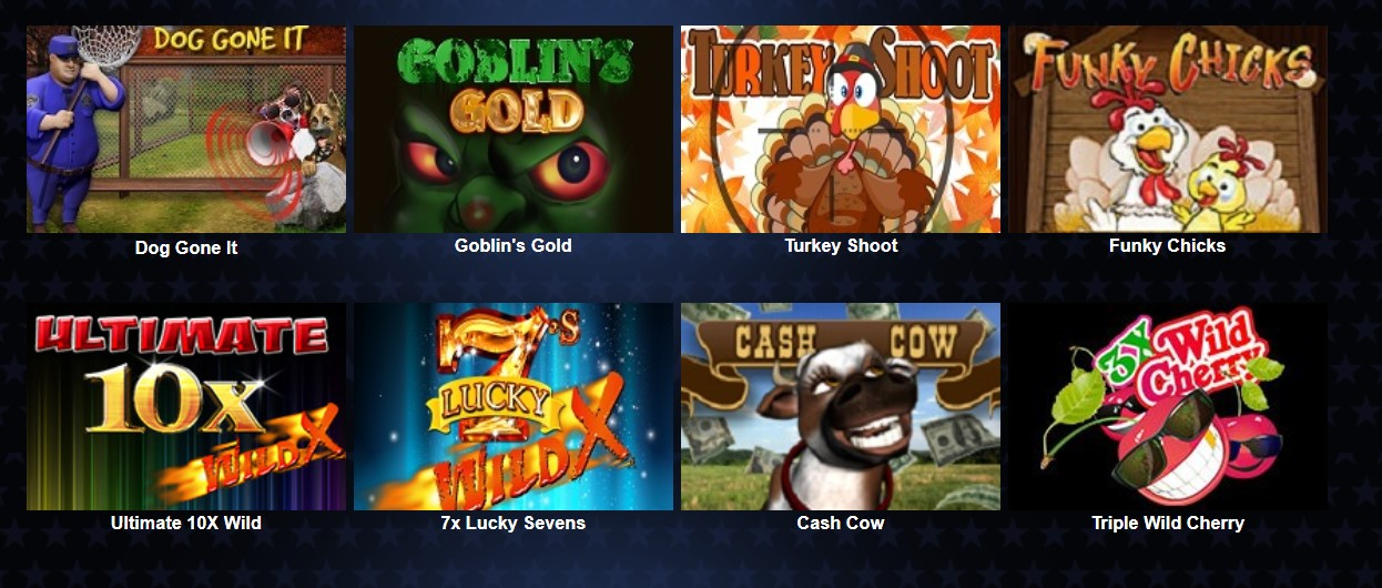 A choice of eight slot games.