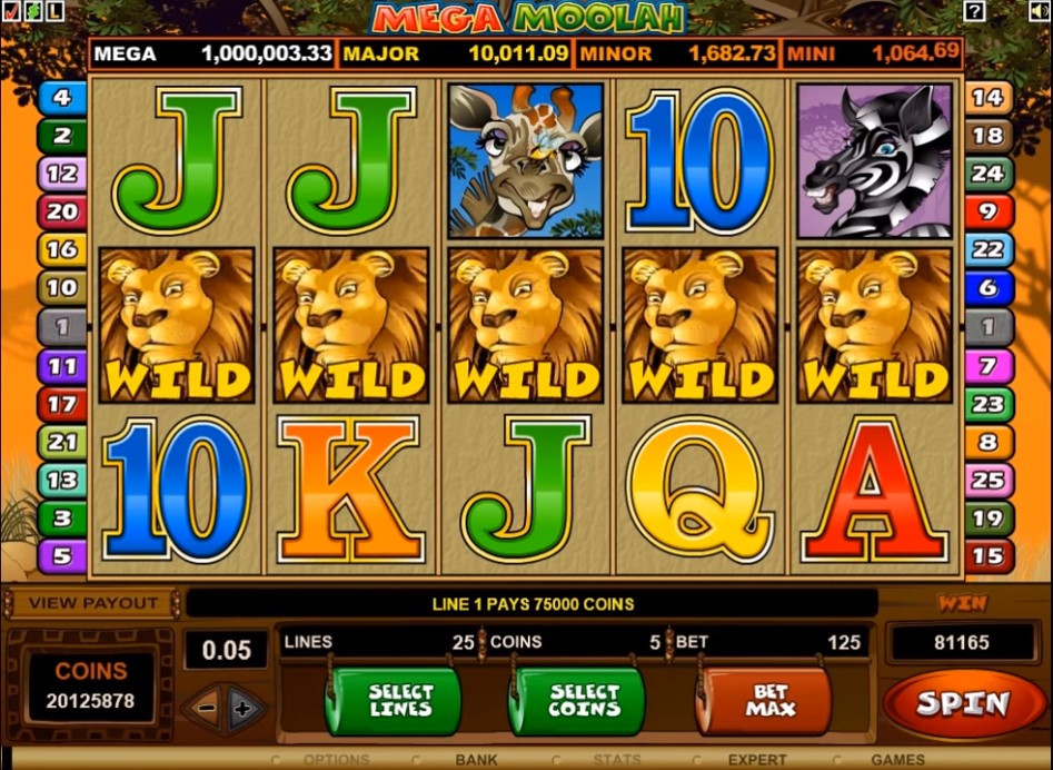 A game of Mega Moolah with five wilds.