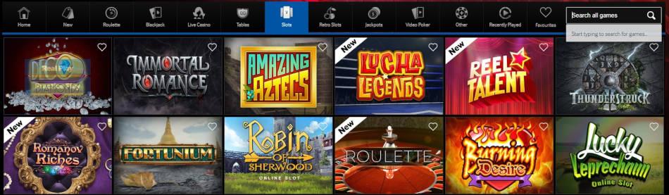 A navigation bar at an online casino.